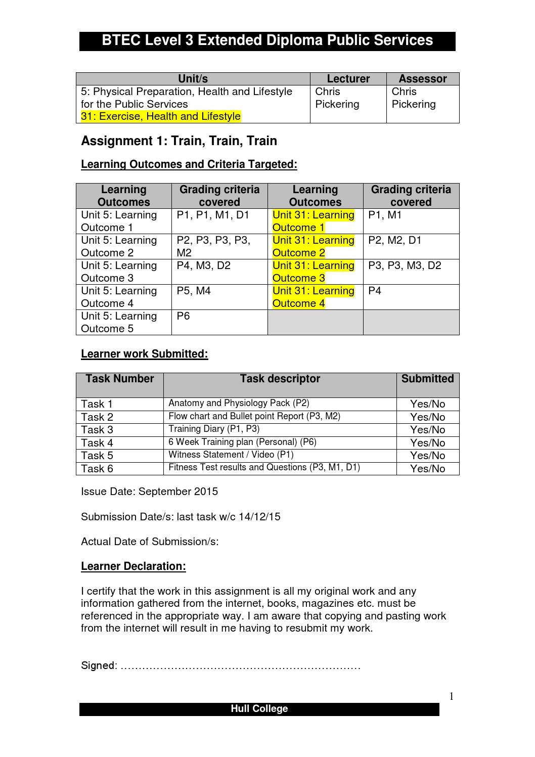 Unit 5 BTEC Health and Social Care Level 3 P5 M2 D2