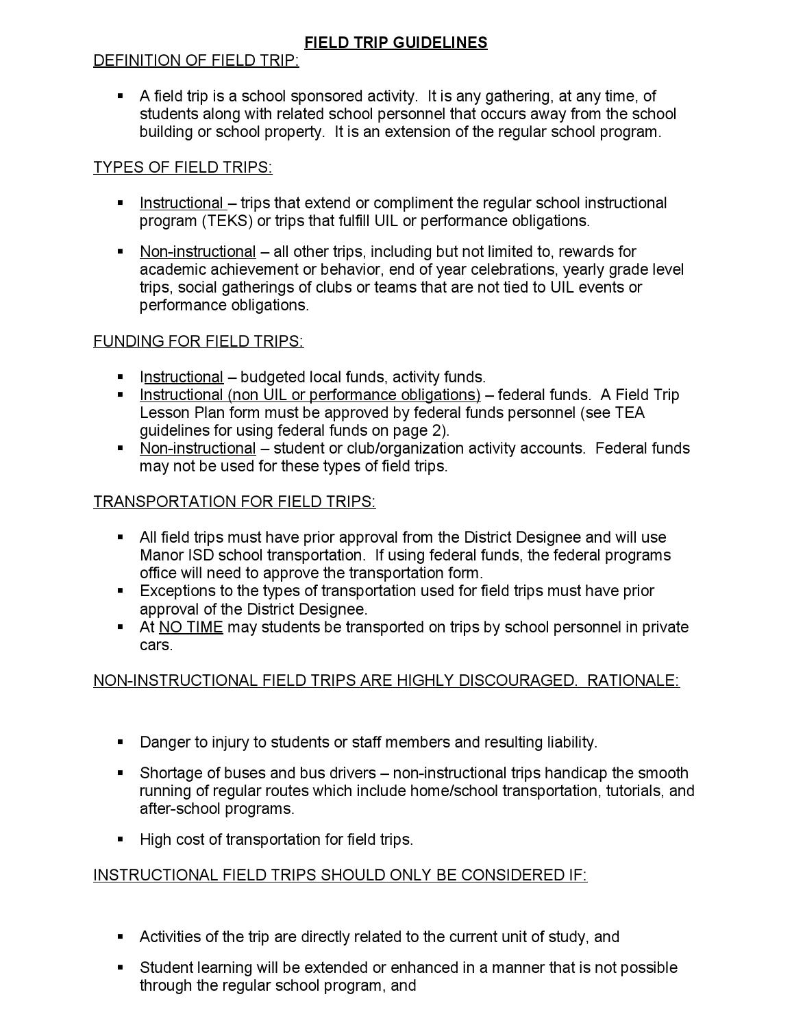 field trip guidelines and lesson plan form (1) by manor excel
