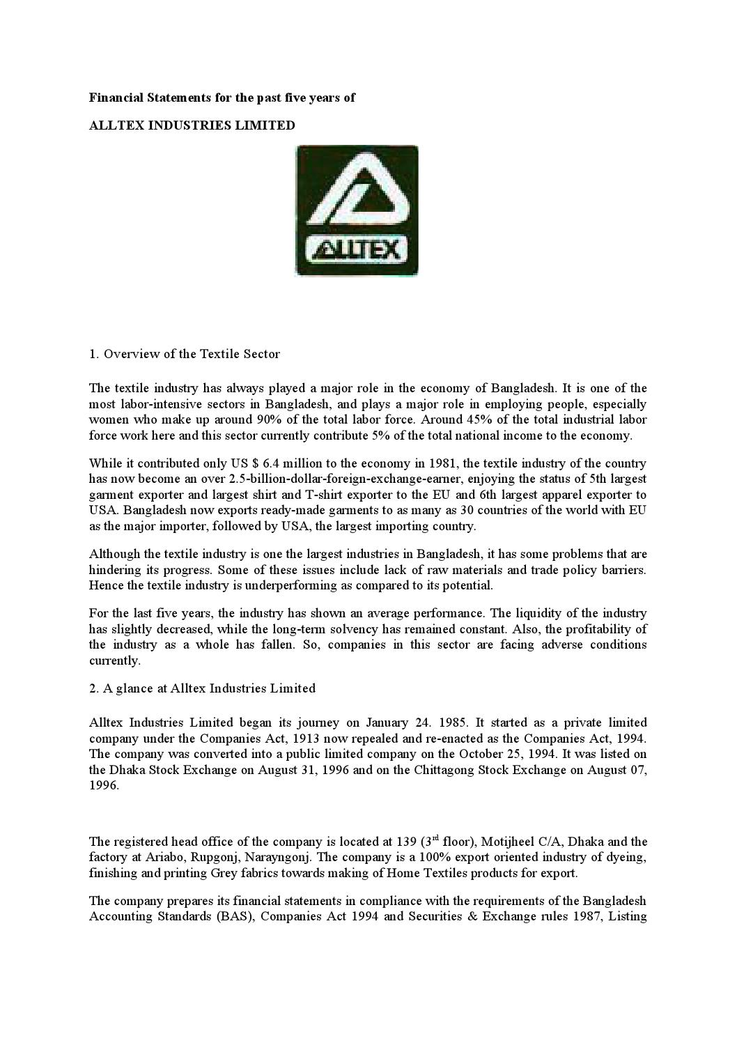 Financial statements of alltex industries limited by Md