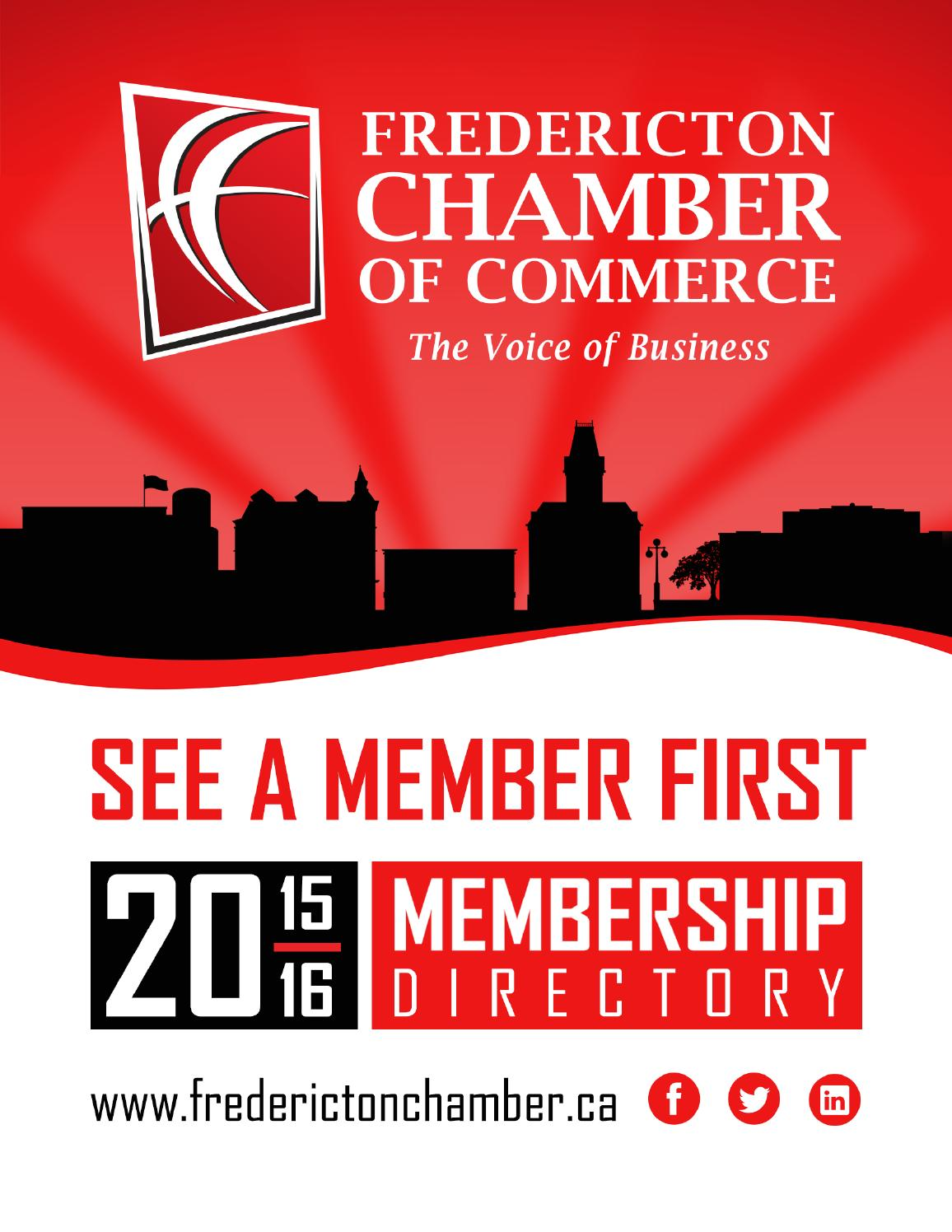Fredericton chamber of commerce membership directory 2015 for Chamber of commerce
