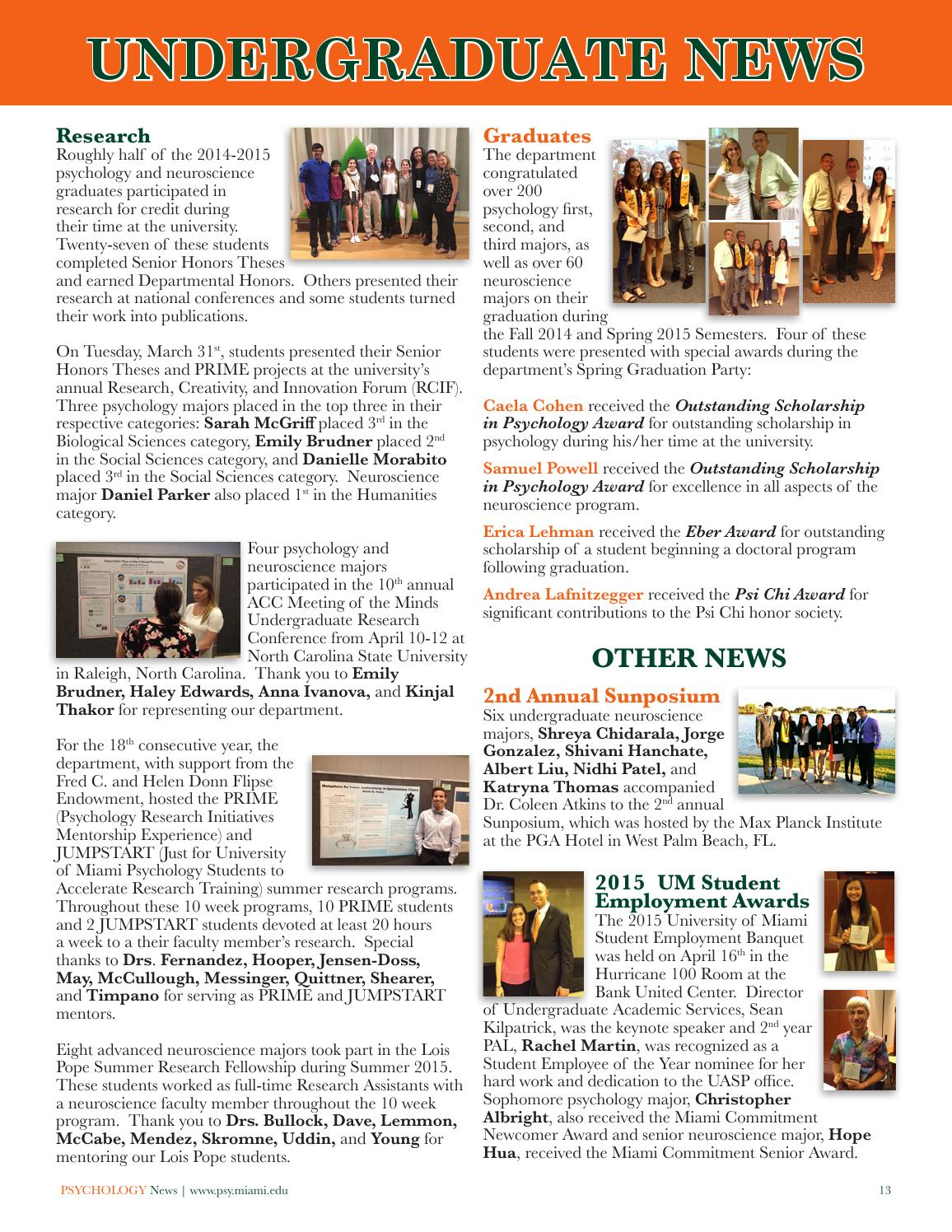 Um psychology news 2015 by University of Miami - College of