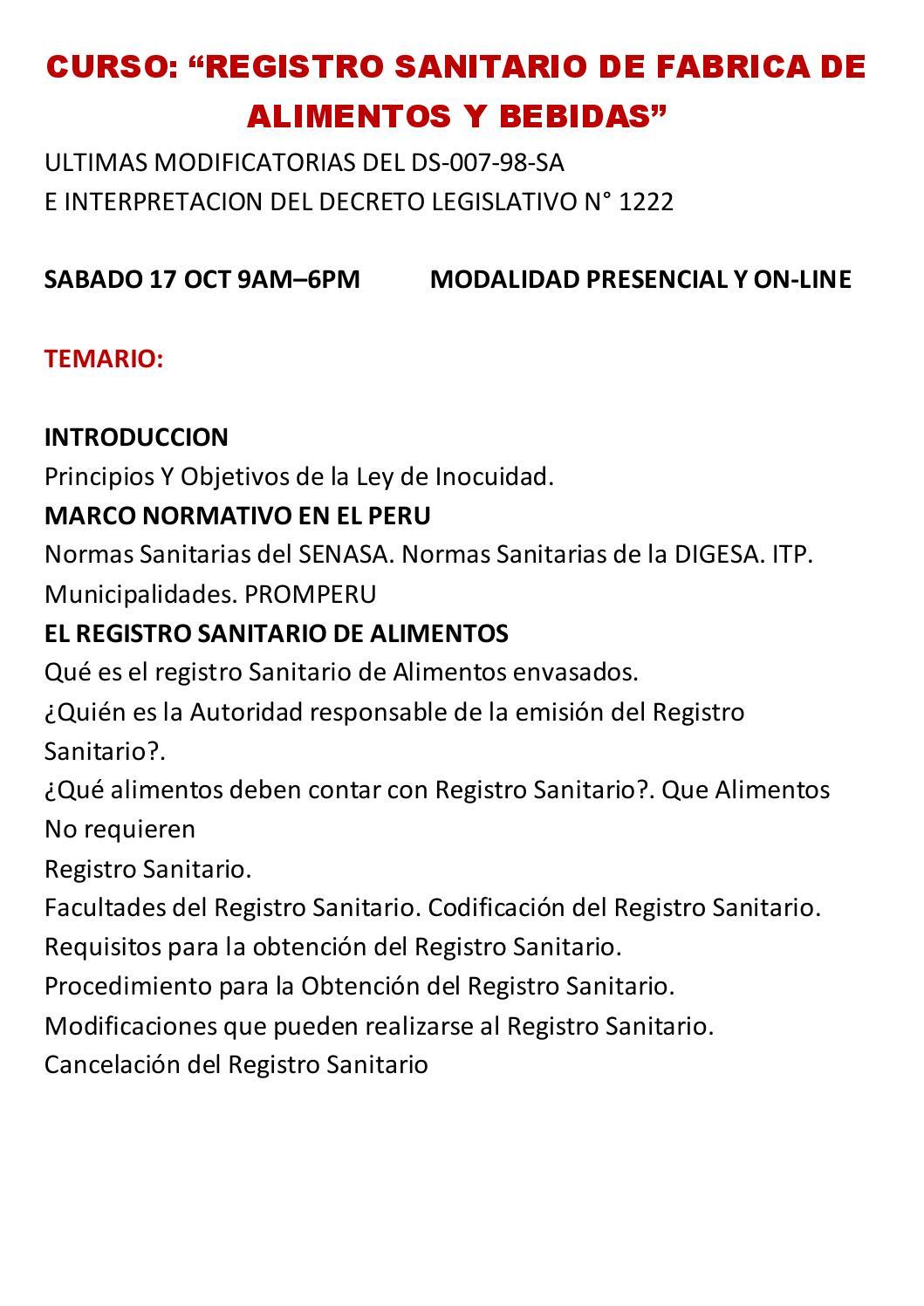 Curso registro sanitario para fabricas de alimentos y bebidas by abigail sanchez issuu - Temario curso manipulador de alimentos ...