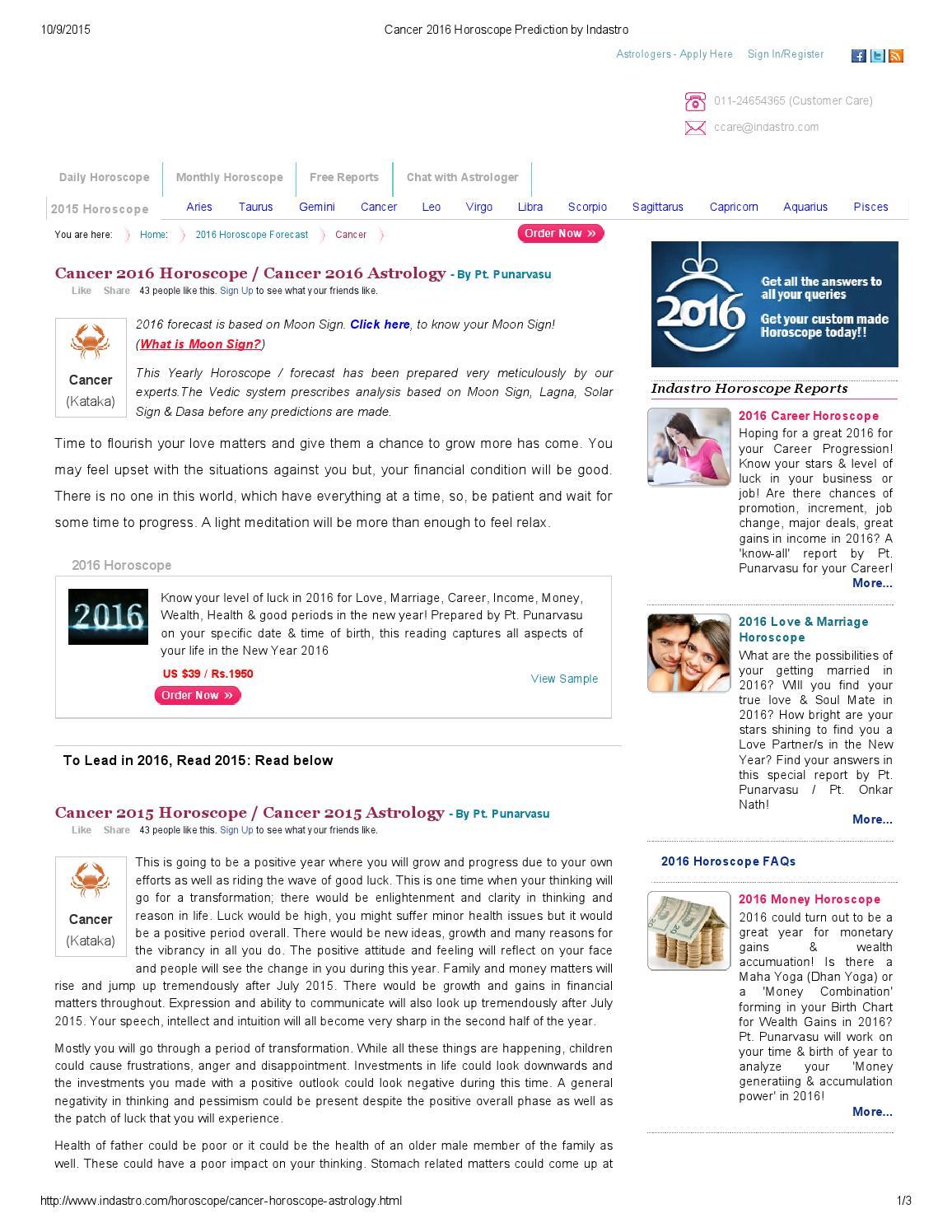Cancer 20 horoscope prediction by indastro by Punarvasu Pandit ...