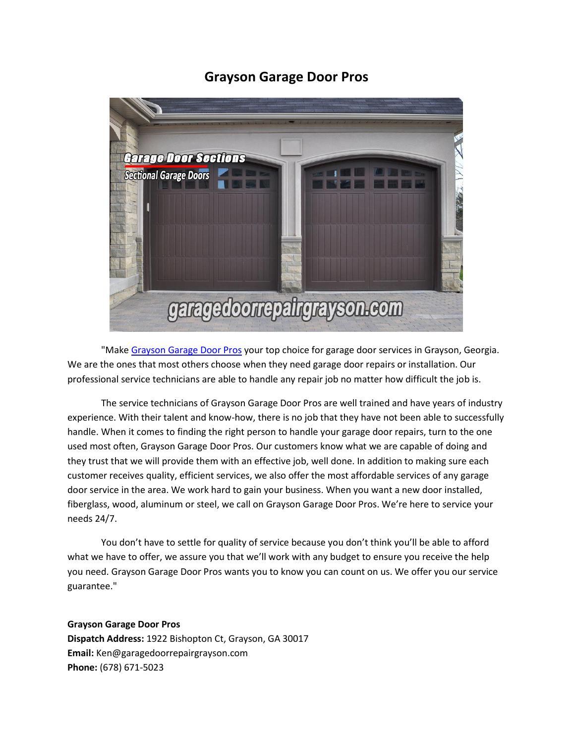 Grayson garage door pros by gedoorr - issuu