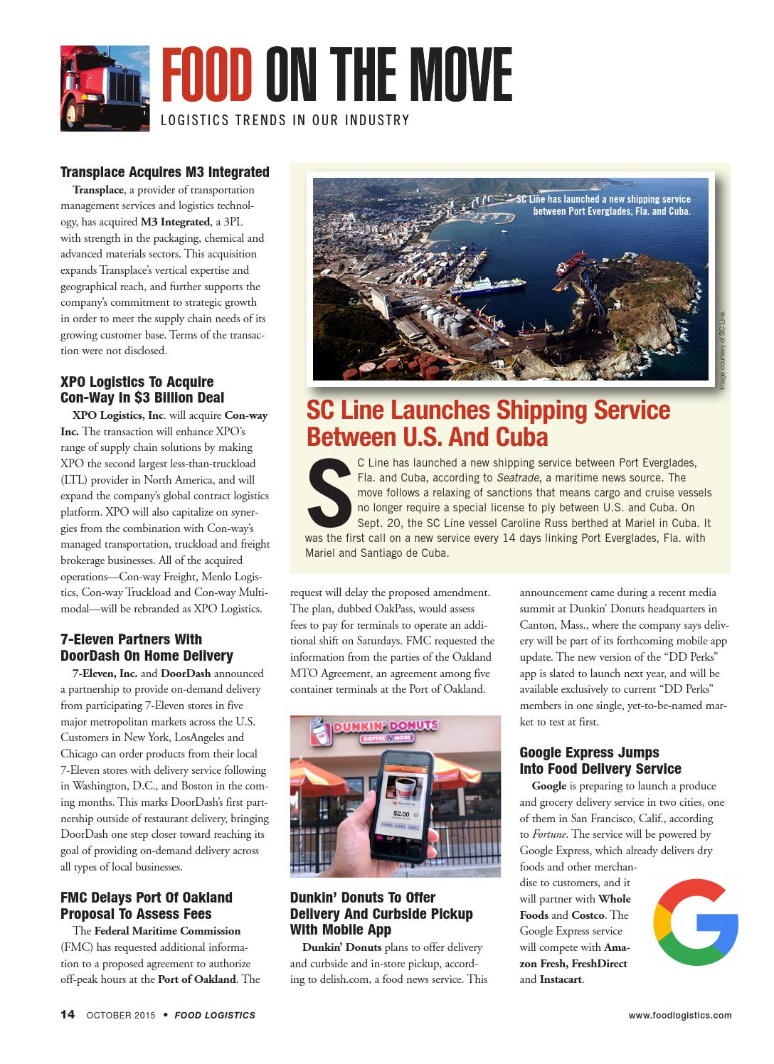 Food Logistics Oct 2015 by Supply+Demand Chain/Food