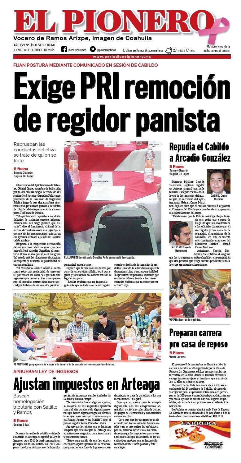 8 Octubre 2015 By Periódico El Pionero Issuu