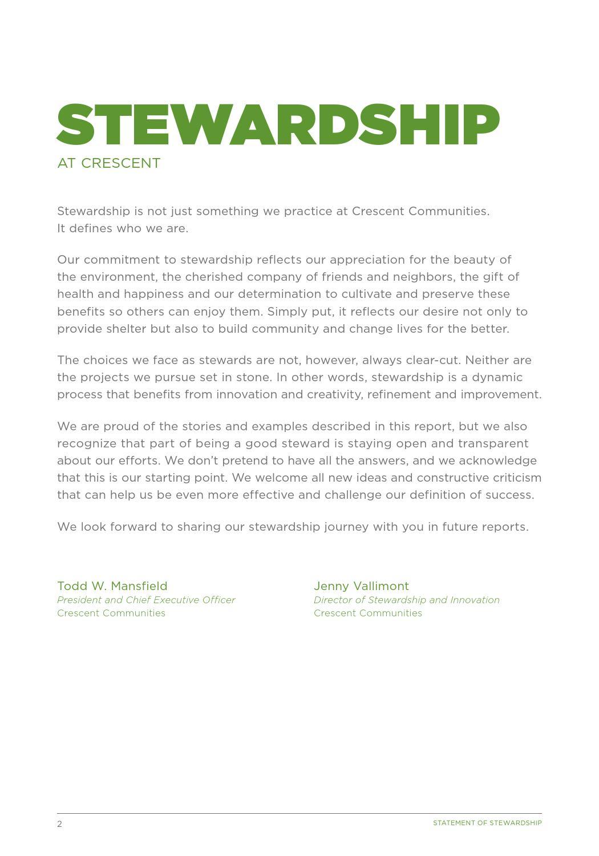 Crescent Communities 2015 Statement of Stewardship by