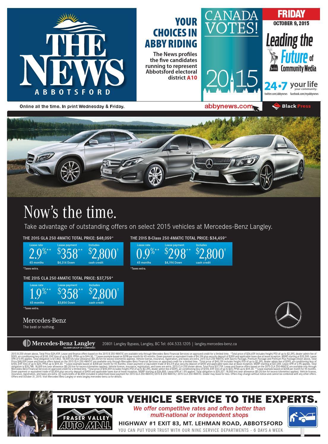 Abbotsford News October 09 2015 By Black Press