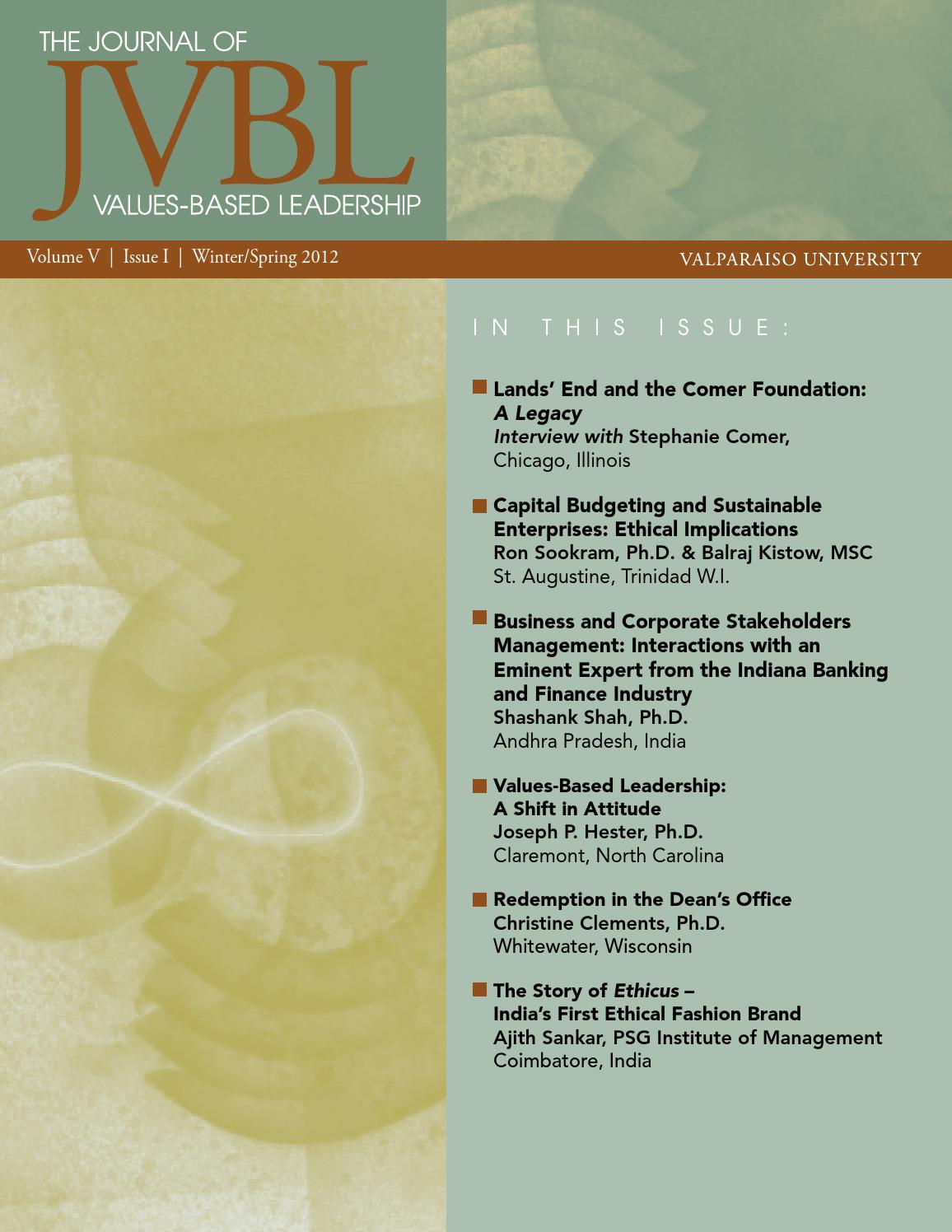 Journal Of Values Based Leadership Winter Spring 2012 By Valposcholar Issuu