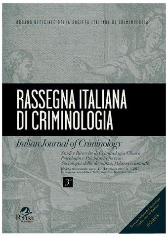rassegna italiana di criminologia 3 2015 by pensa On rassegna italiana di criminologia