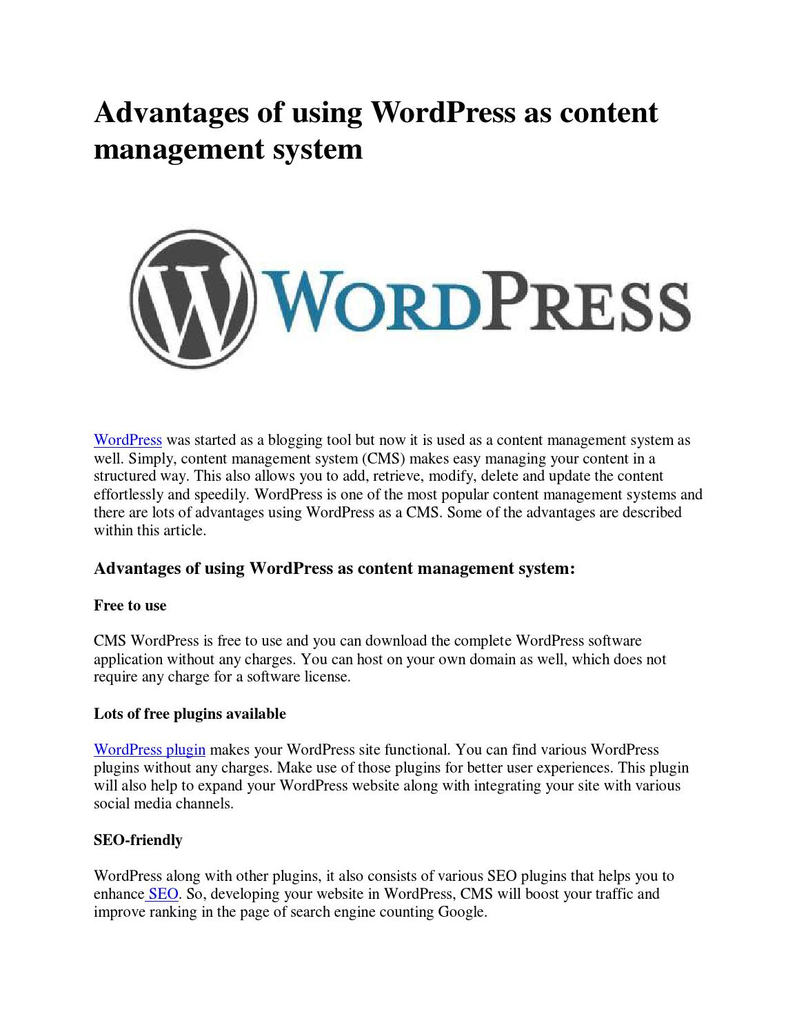 Advantages Of Using WordPress As Content Management System By Newswire Issuu