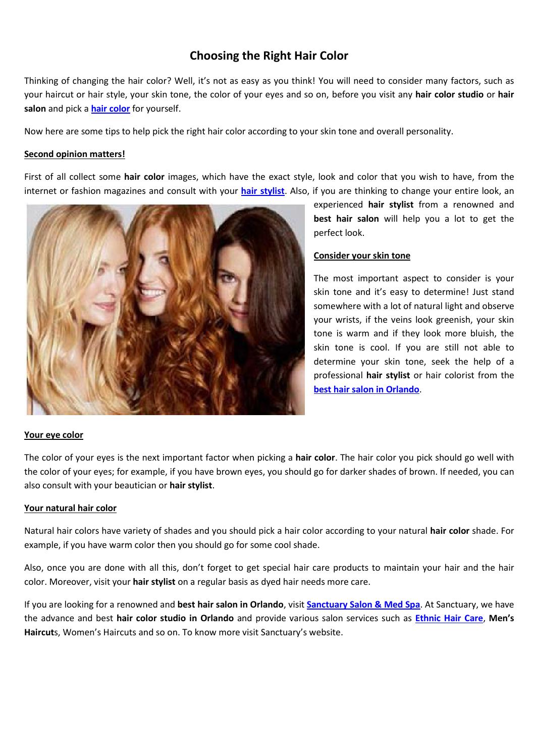 Choosing The Right Hair Color By Sanctuarysalondayspa Issuu