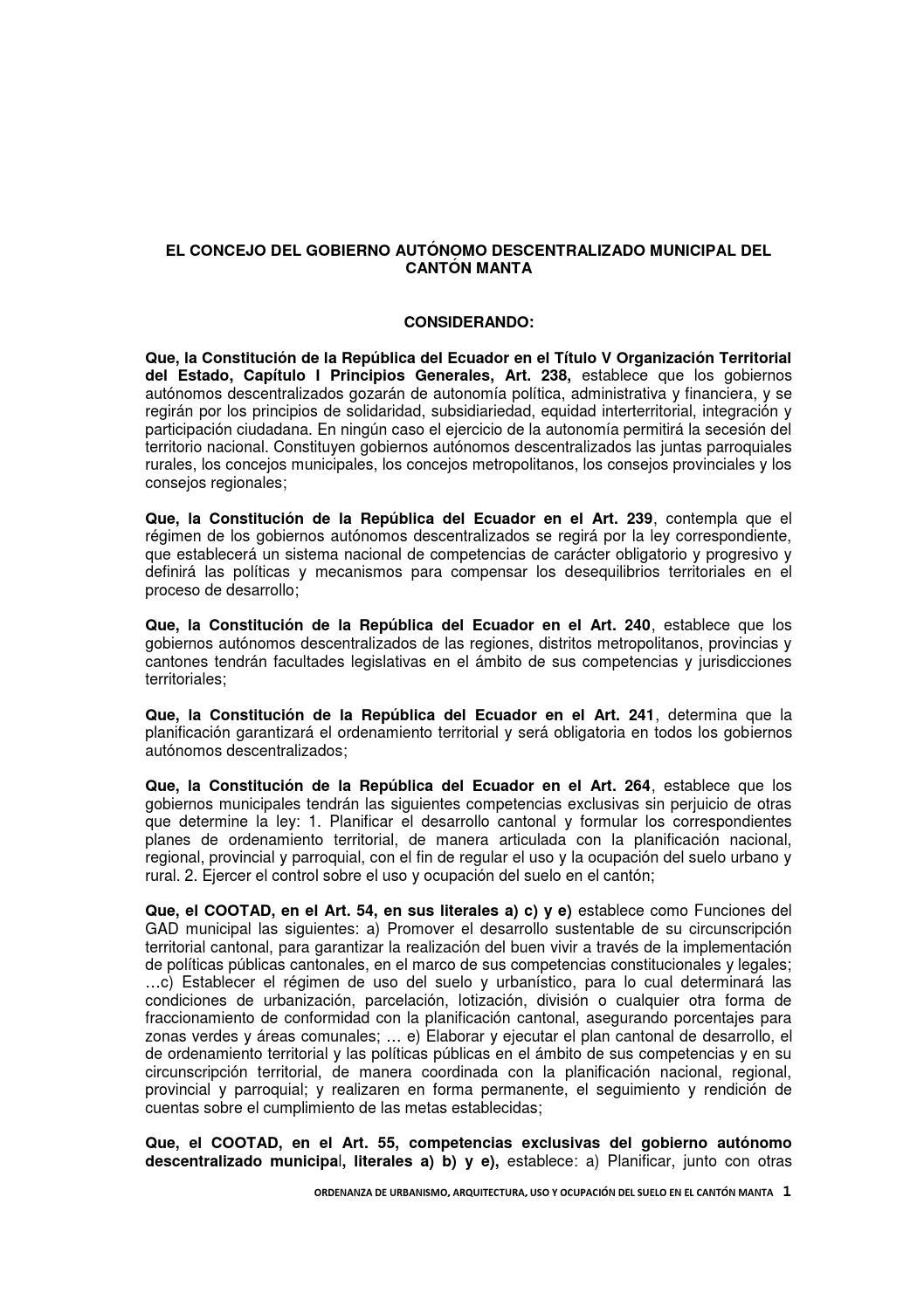 Ordenanza normas de urbanismo y arquitectura by ccpd manta - Permisos para construir una casa ...