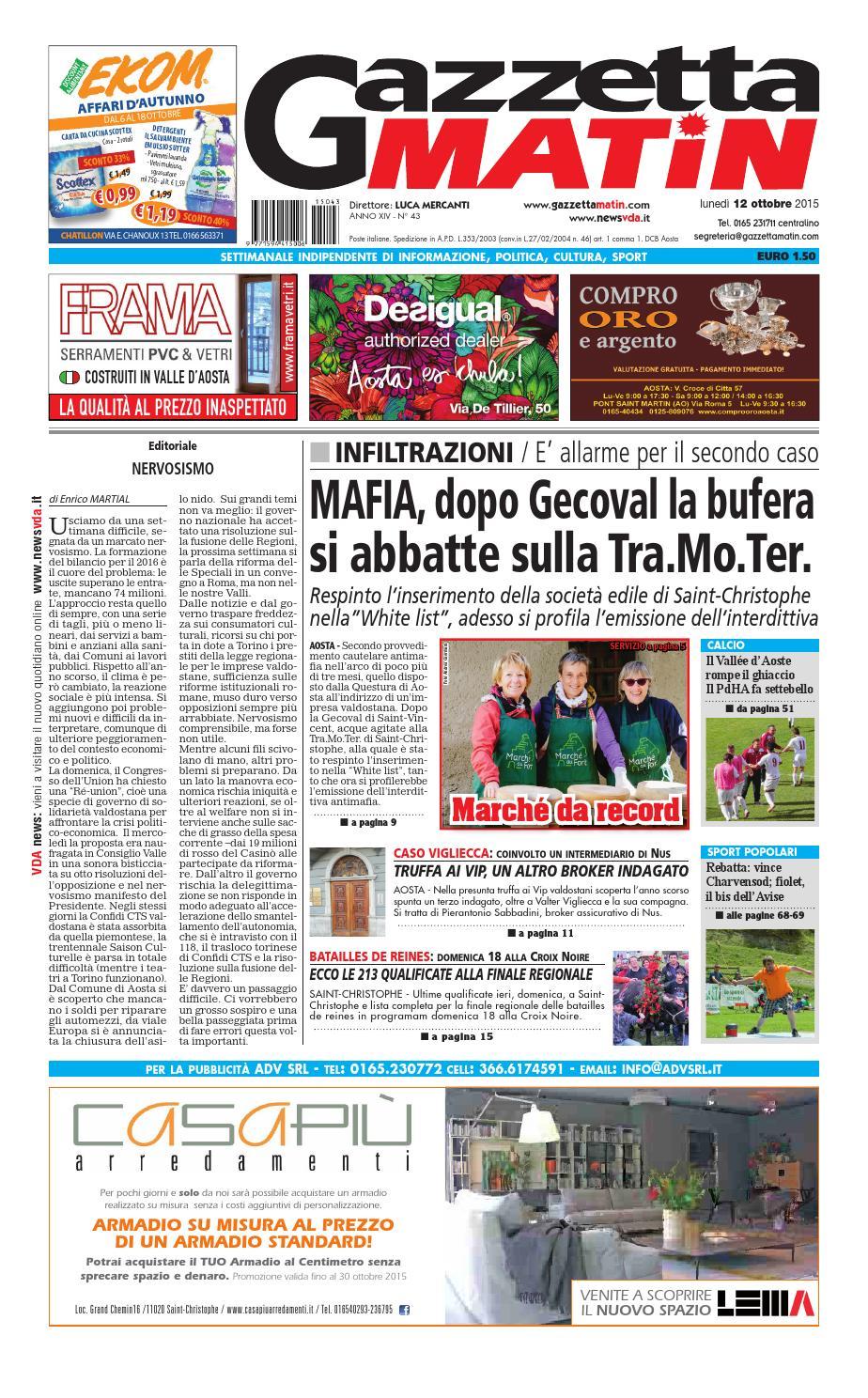 Gazzetta Matin Del 12 Ottobre 2015 By Newsvda Issuu