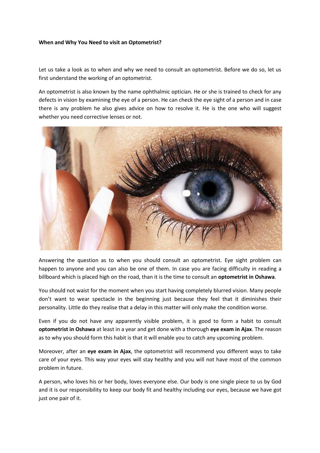 4013a18cdcf When and why you need to visit an optometrist by Whitby Eye Care - issuu