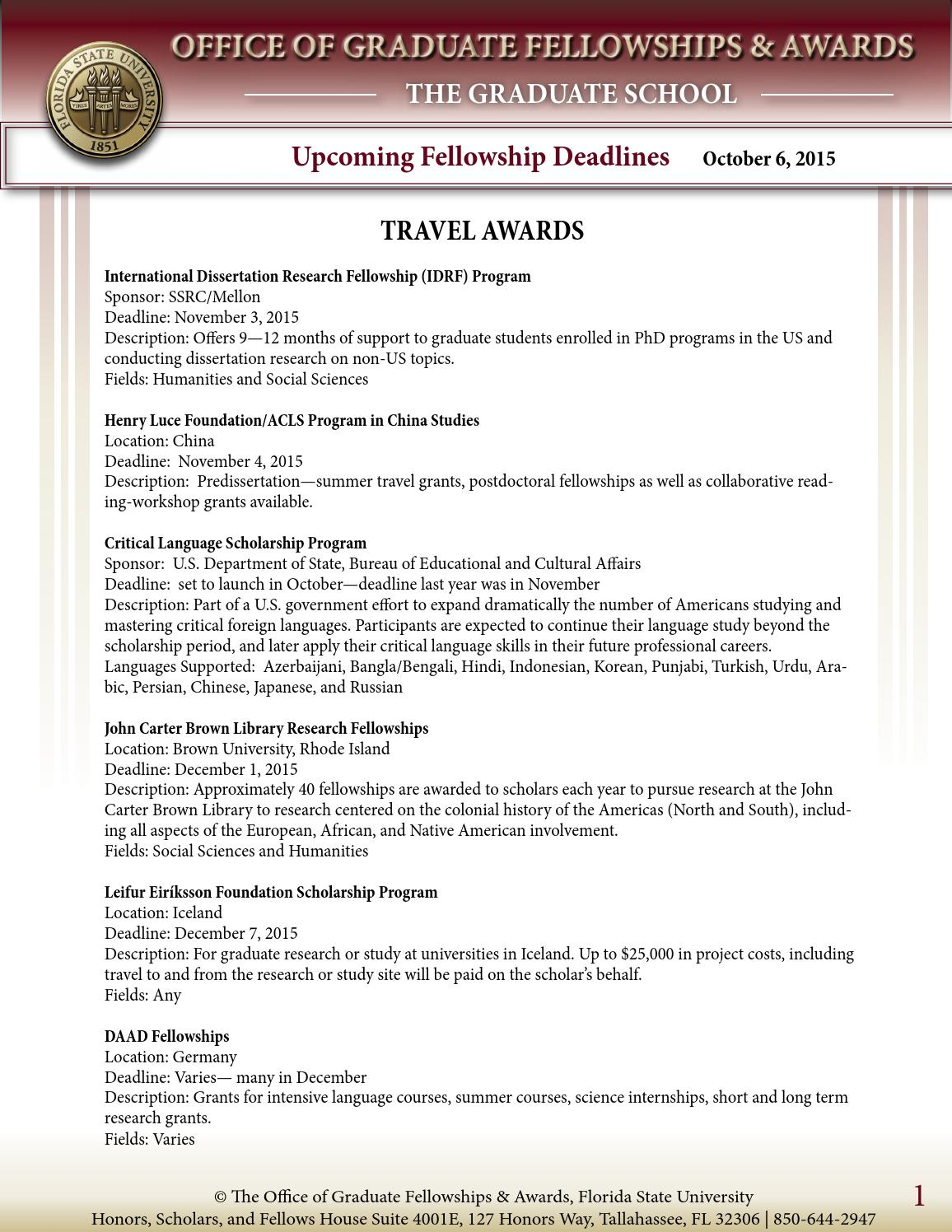 OGFA Upcoming Fellowship Deadlines Oct-Dec 2015 by The