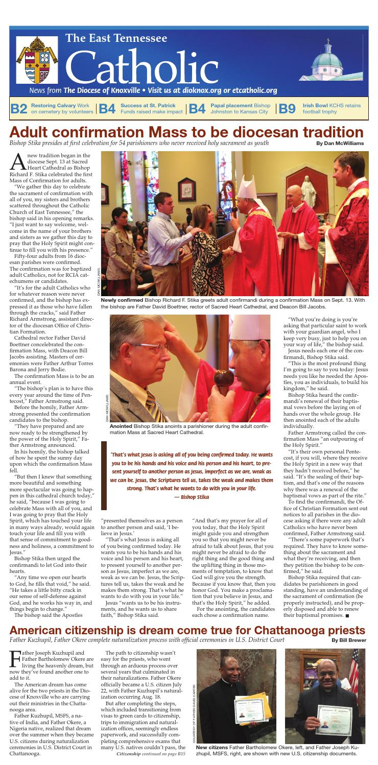 Oct. 4, 2015, ET Catholic, B section by Diocese of Knoxville - issuu