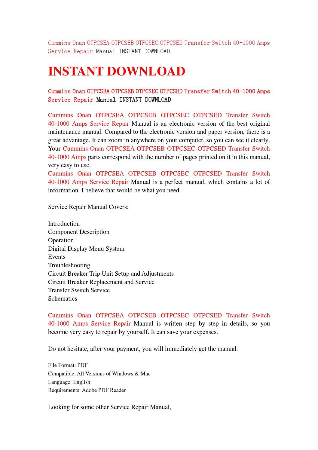 Cummins onan otpcsea otpcseb otpcsec otpcsed transfer switch 40 1000 amps  service repair manual inst by sfjehfsendf - issuu