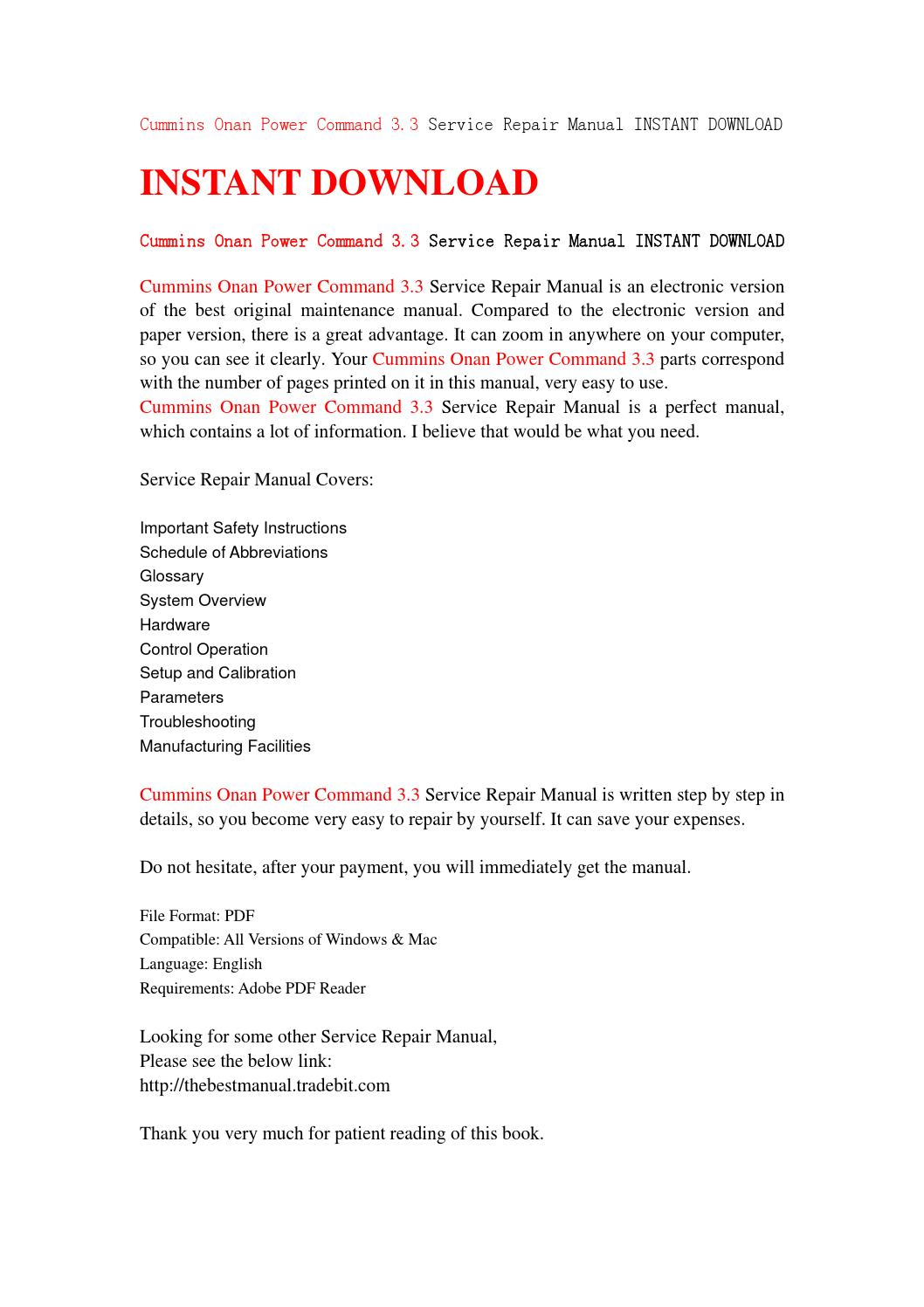 Cummins onan power command 3 3 service repair manual instant download by  sfjehfsendf - issuu