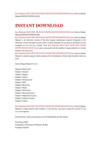 kioti service manual free download