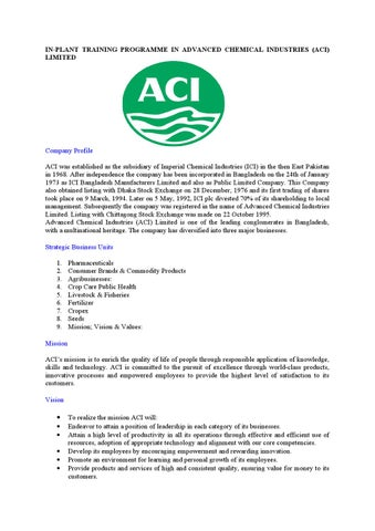 aci pharma bangladesh Aci or advanced chemical industries (dse : aci) is one of the largest  bangladeshi conglomerates the company operates through three reportable  segments: pharmaceuticals,.