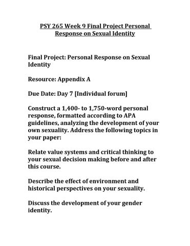 sexuality topics for a paper