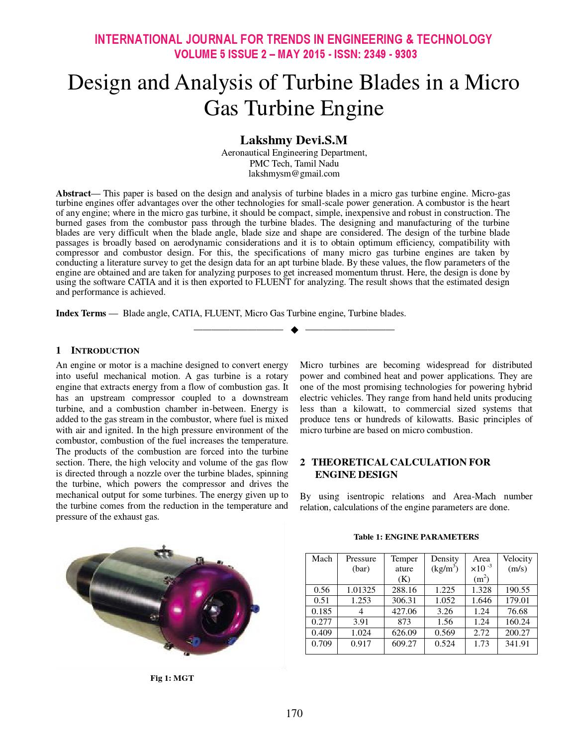 Design and Analysis of Turbine Blades in a Micro Gas Turbine Engine