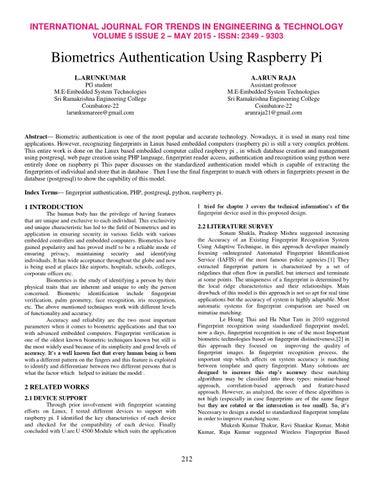 Biometrics Authentication Using Raspberry Pi by