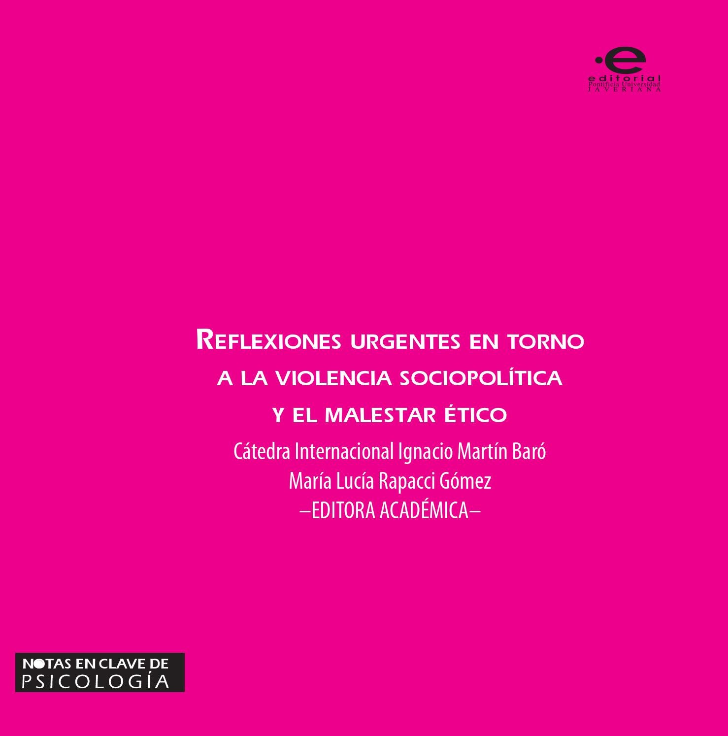 Reflexiones urgentes en torno a la violencia sociopolítica y el ...