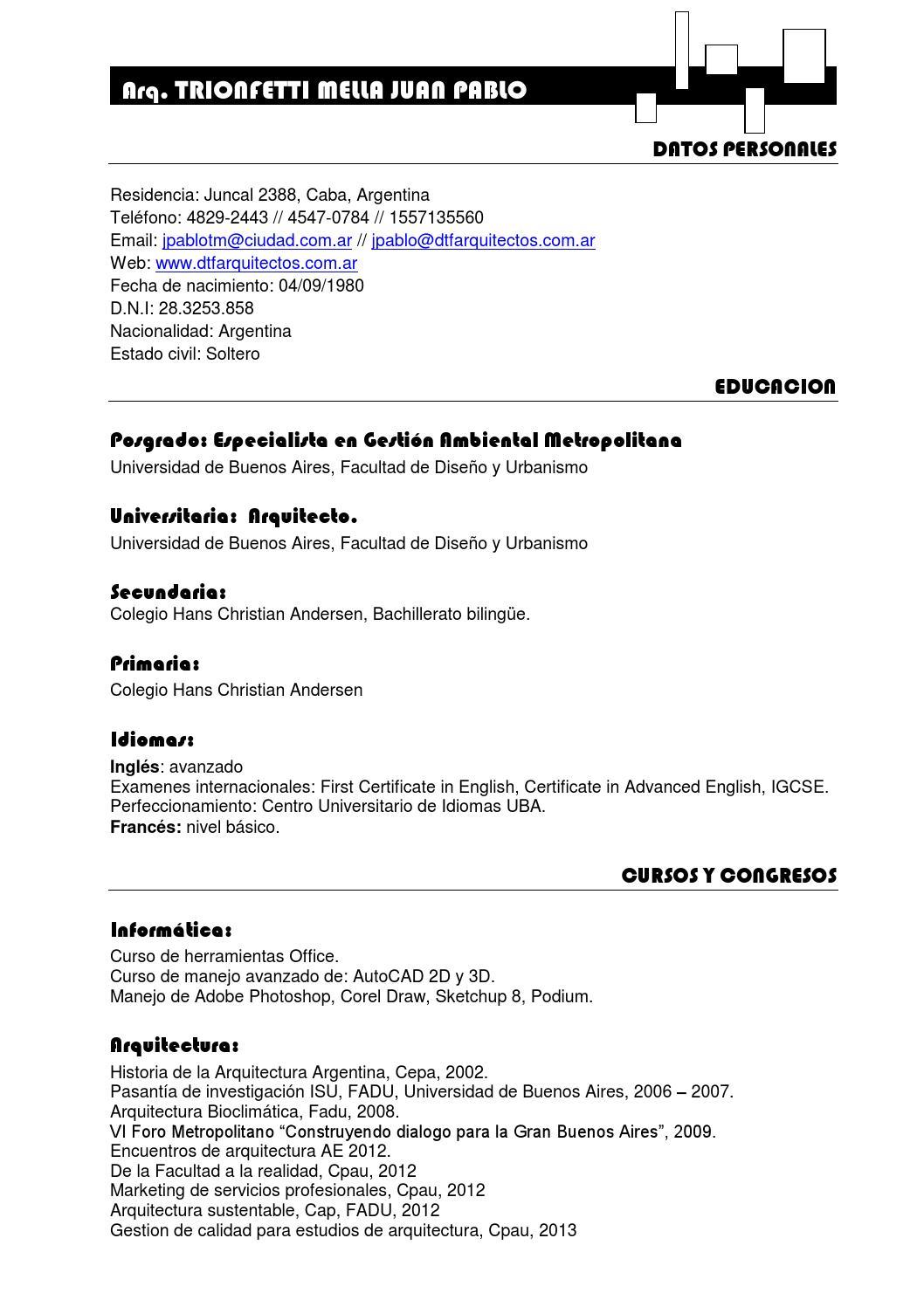 curriculum vitae by juan pablo trionfetti mella