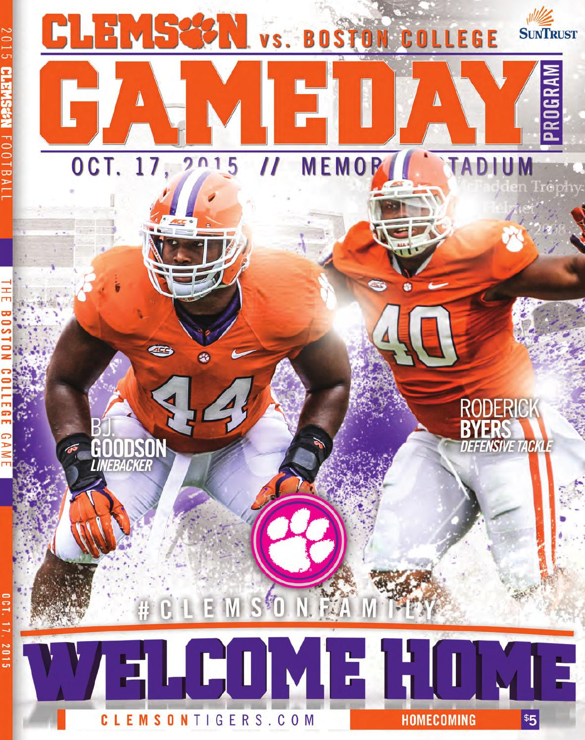 2015 Clemson vs. Boston College Football Gameday Program ...
