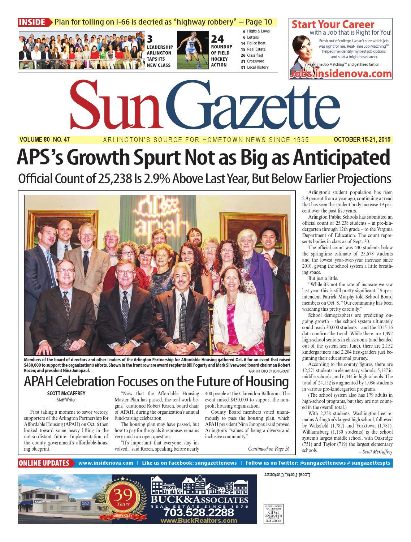 Sun Gazette Arlington October 15, 2015 by Northern Virginia