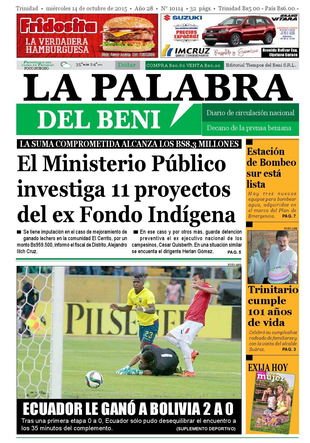 La Palabra del Beni, 14 de Octubre de 2015 by La Palabra del Beni ...
