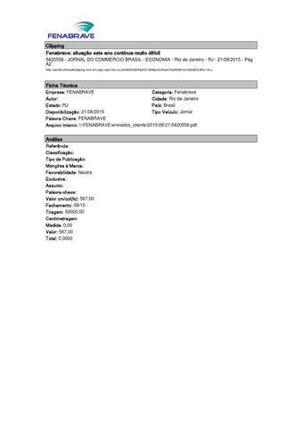 912ab5bb1 Clipping Fenabrave  situação este ano continua muito difícil 5420558 -  JORNAL DO COMMERCIO BRASIL - ECONOMIA - Rio de Janeiro - RJ - 21 08 2015 -  Pág A2 ...