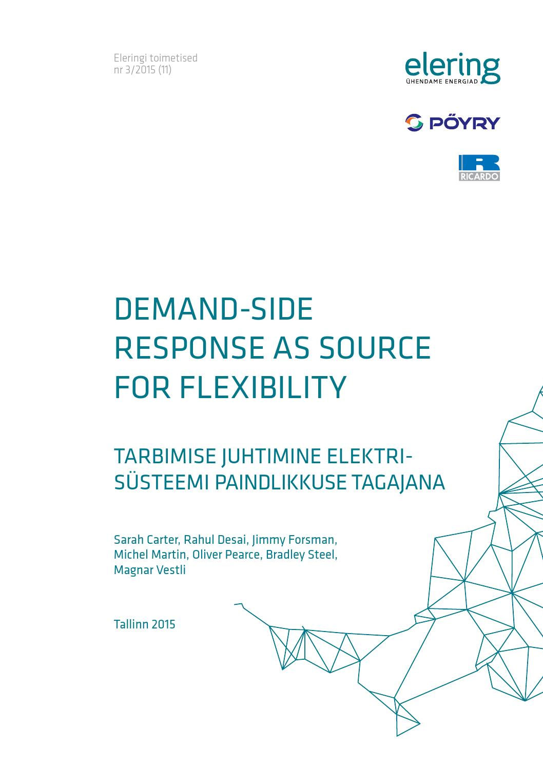 Demand side response as source for flexibility by Elering