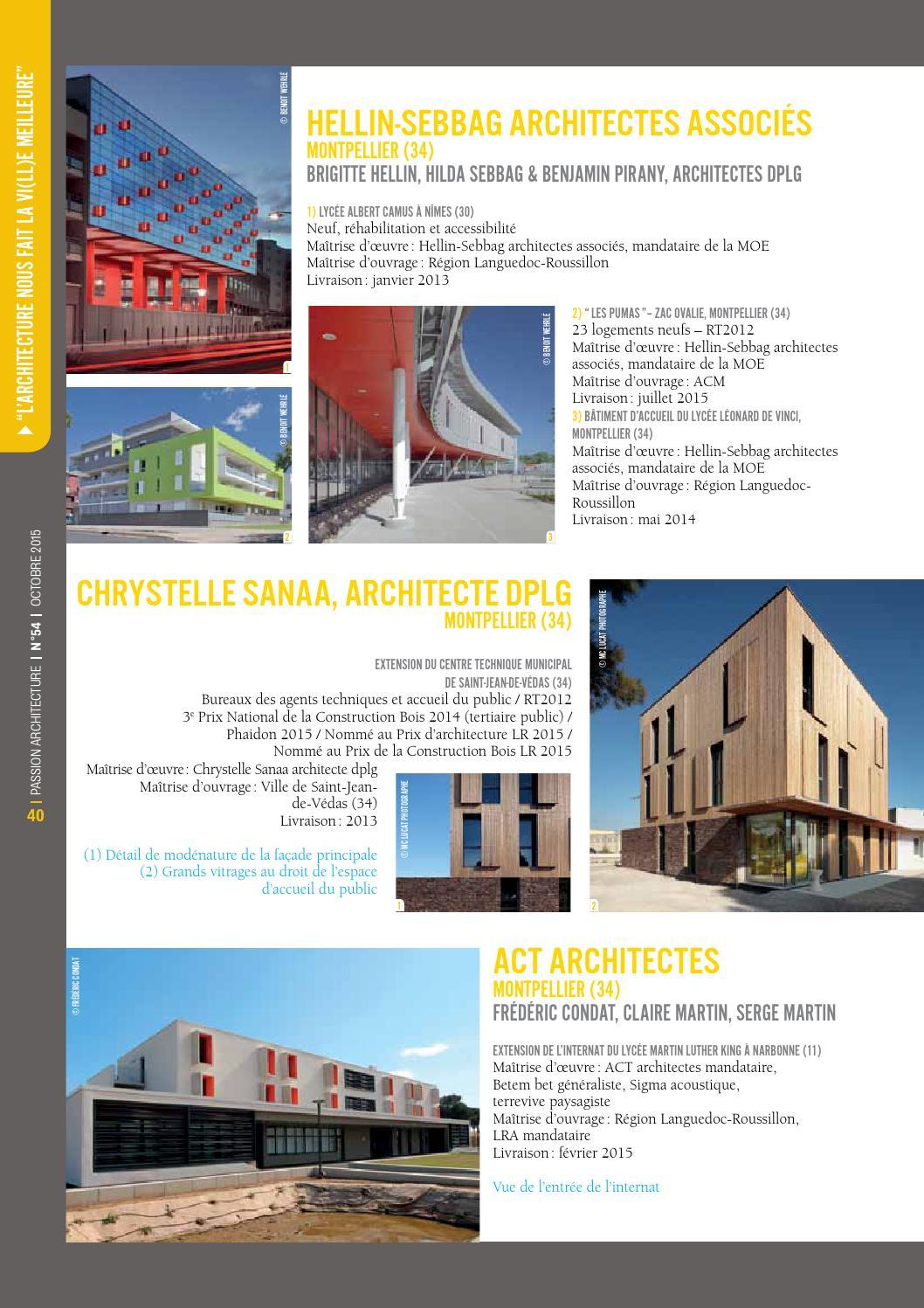 Maitrise D Oeuvre Montpellier passion architecture n°54 - la revue syndicale des