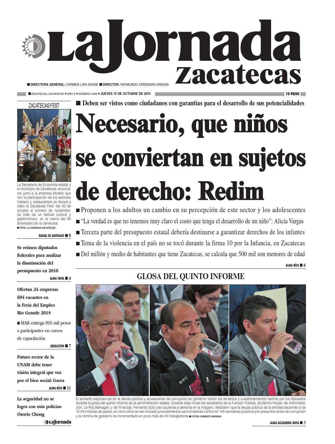 La Jornada Zacatecas Jueves 15 De Octubre Del 2015 By La Jornada  # Muebles Tumoine