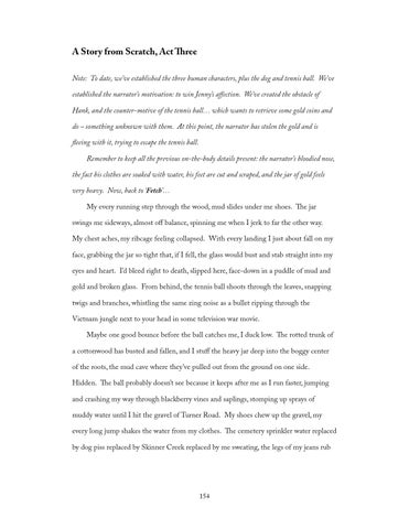 Sample Proposal Essay A Story From Scratch Act Three Note To Date Weve Established The Three  Human Characters Plus The Dog And Tennis Ball Weve Established The  Narrators  An Essay On Science also Essay On Health And Fitness  Writing Craft Essays By Chuck Palahniuk By Joao Malossi  Issuu How To Write A Proposal Essay Paper