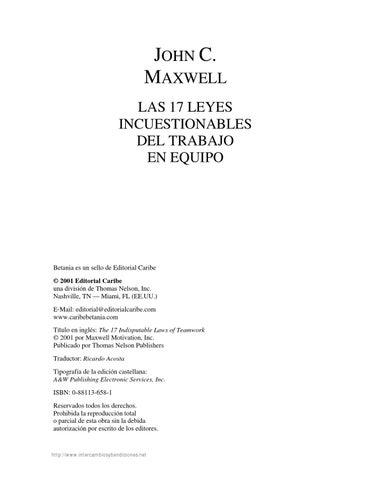 John c maxwell las 17 leyes incuestionables del trabajo en equipo by ... 63a7f62862f8d
