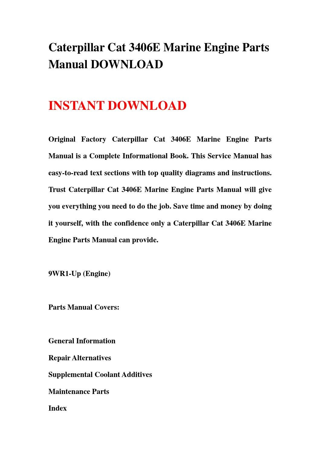 Caterpillar cat 3406e marine engine parts manual download by sjefhsnen -  issuu