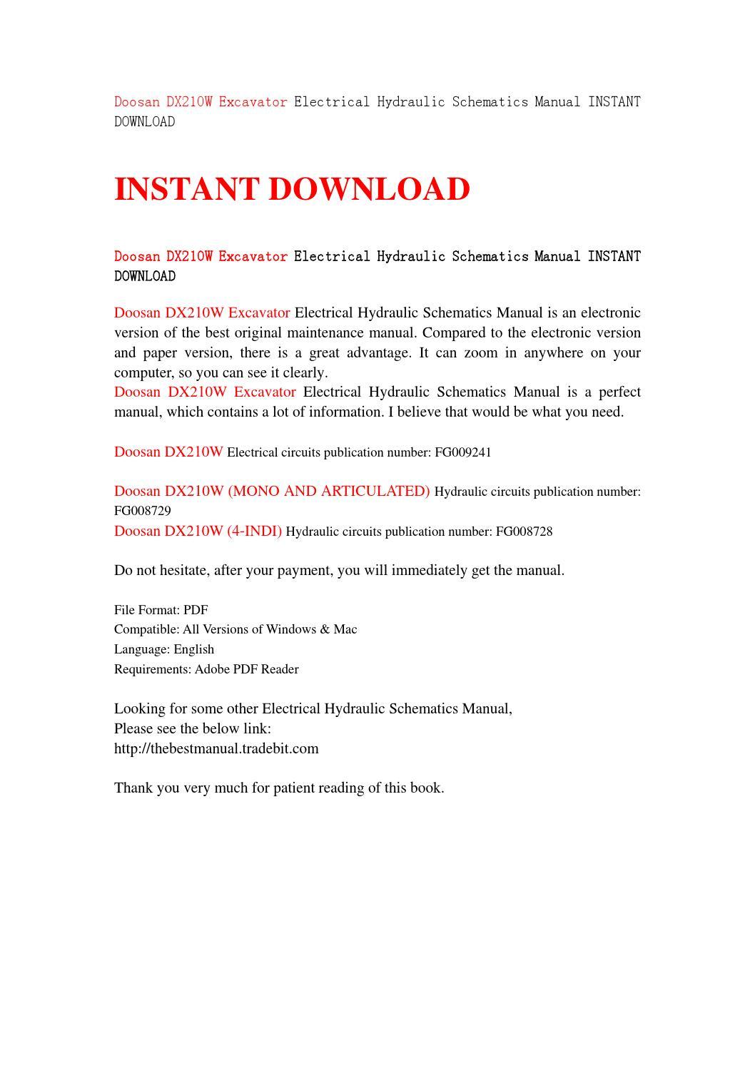 Doosan dx210w excavator electrical hydraulic schematics manual instant  download by sjefhsnen - issuu