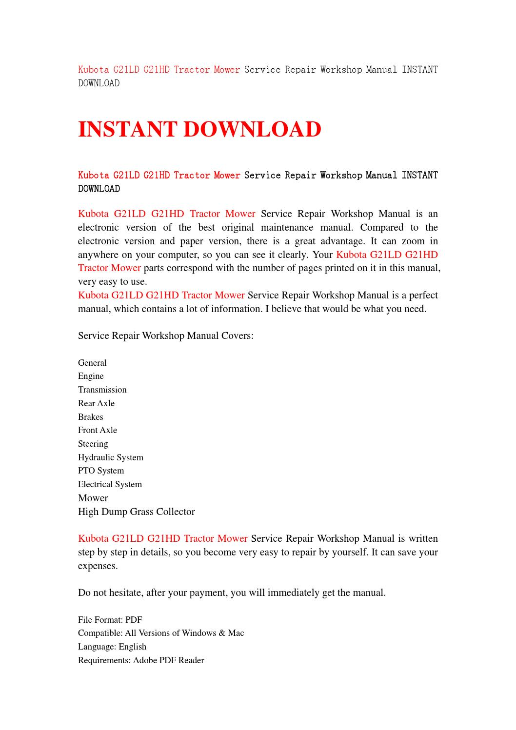 Kubota g21ld g21hd tractor mower service repair workshop manual instant  download by sjefhsnen - issuu