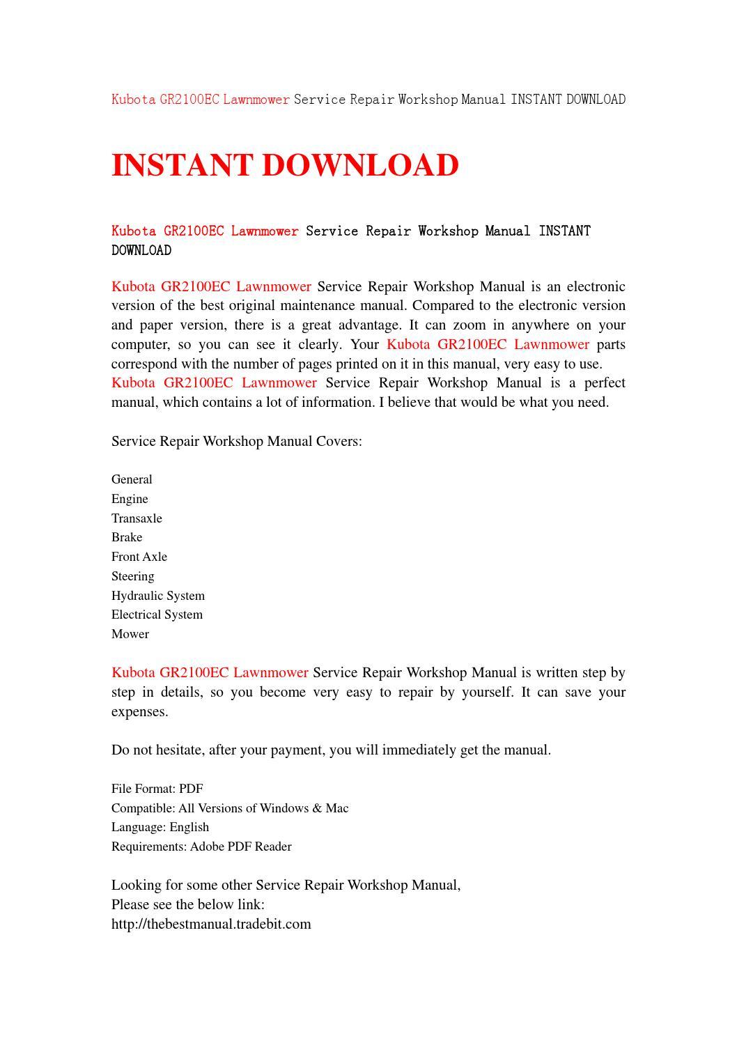 Kubota gr2100ec lawnmower service repair workshop manual instant download  by sjefhsnen - issuu