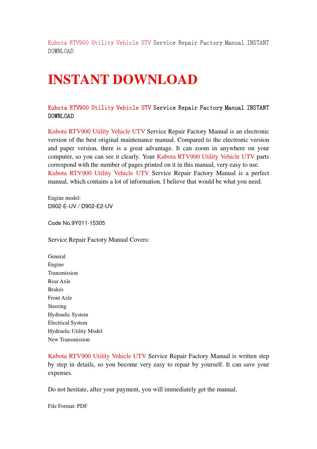 Kubota rtv900 utility vehicle utv service repair factory manual instant  download by sjefhsnen - issuu