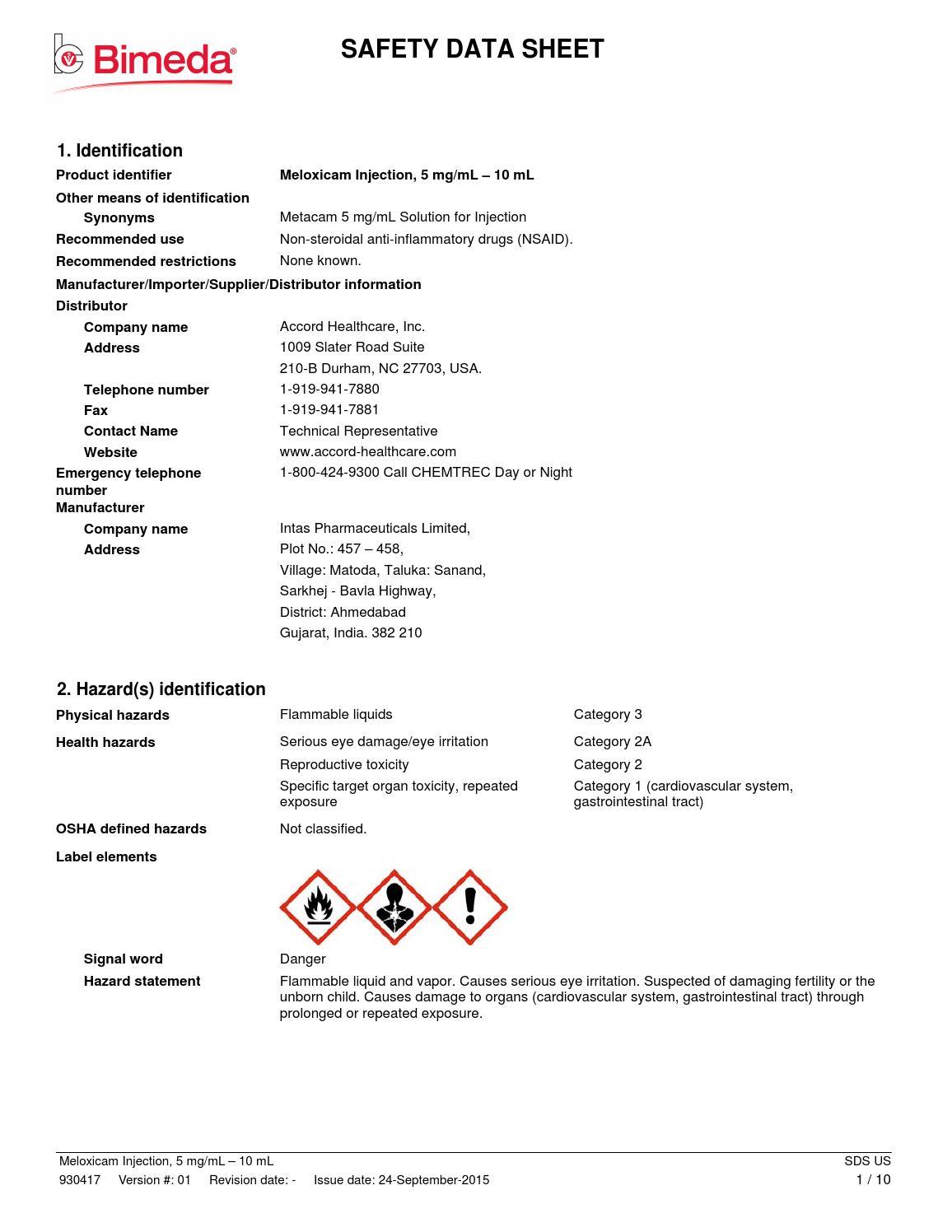 1mel001 safety sheet by Cross Vetpharm Group Ltd - issuu