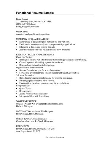 entry level functional resumes