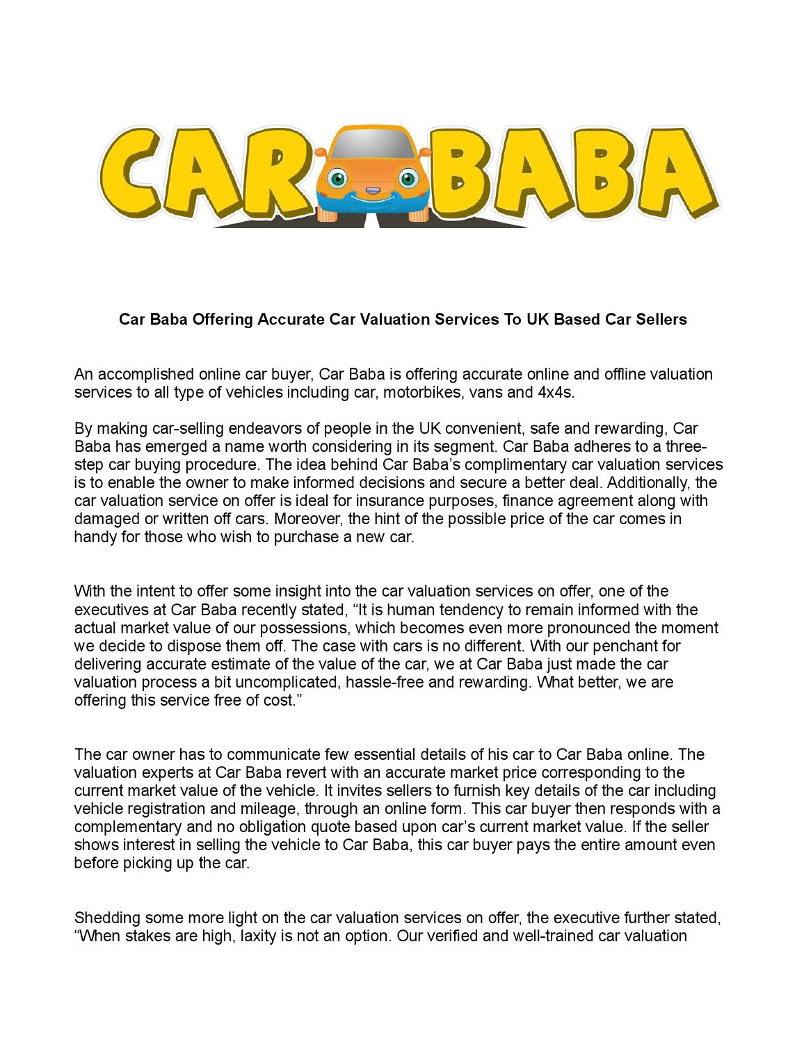 Car Baba Offering Accurate Car Valuation Services To Uk Based Car