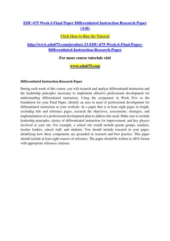 Edu 675 Week 6 Final Paper Differentiated Instruction Research Paper