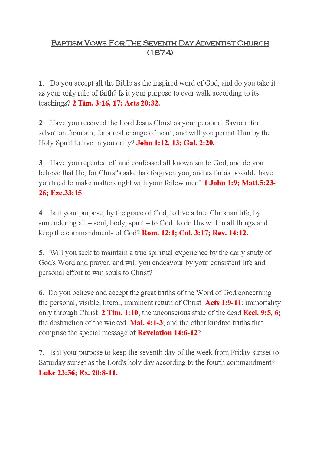 Baptism Vows for the Seventh-Day Adventist Church by David Wells - issuu