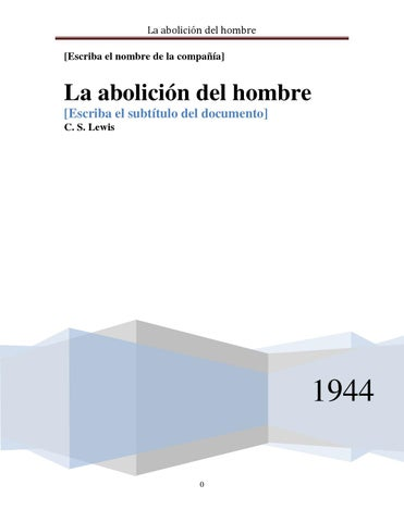 La Abolicion Del Hombre Cs Lewis Download